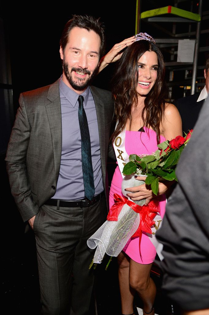 "Actors Sandra Bullock, Keanu Reeves and Hugh Grant attend Spike TV's ""Guys Choice 2014"" at Sony Pictures Studios on June 7, 2014 in Culver City, California."