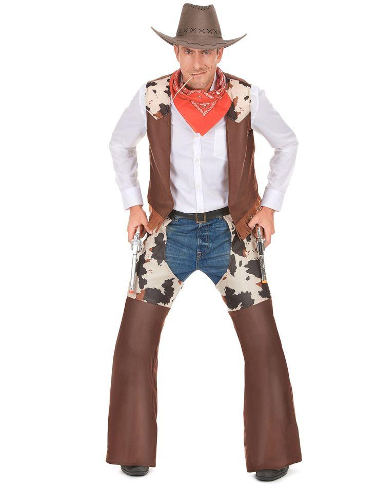 Disfraz de vaquero hombre: Este disfraz de cowboy para hombre incluye chaleco y cubre pantalón (sombrero, camisa, vaqueros, pañuelo y pistolas no incluidos).El chaleco no tienen mangas y acaba en flecos. Los...
