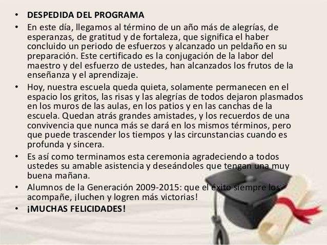 Programa Ceremonia De Graduación Con Frases Palabras De Despedida Ceremonia De Graduacion Palabras De Graduacion