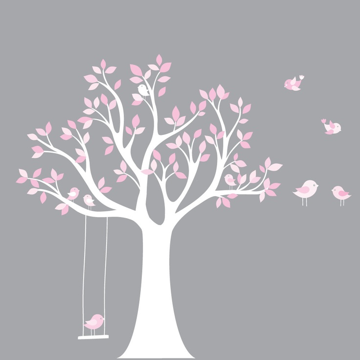 Custom Listing Vinyl Wall Decal Stickers Bird White Tree Set Nursery Wall Sticker with swing. $99.00, via Etsy.