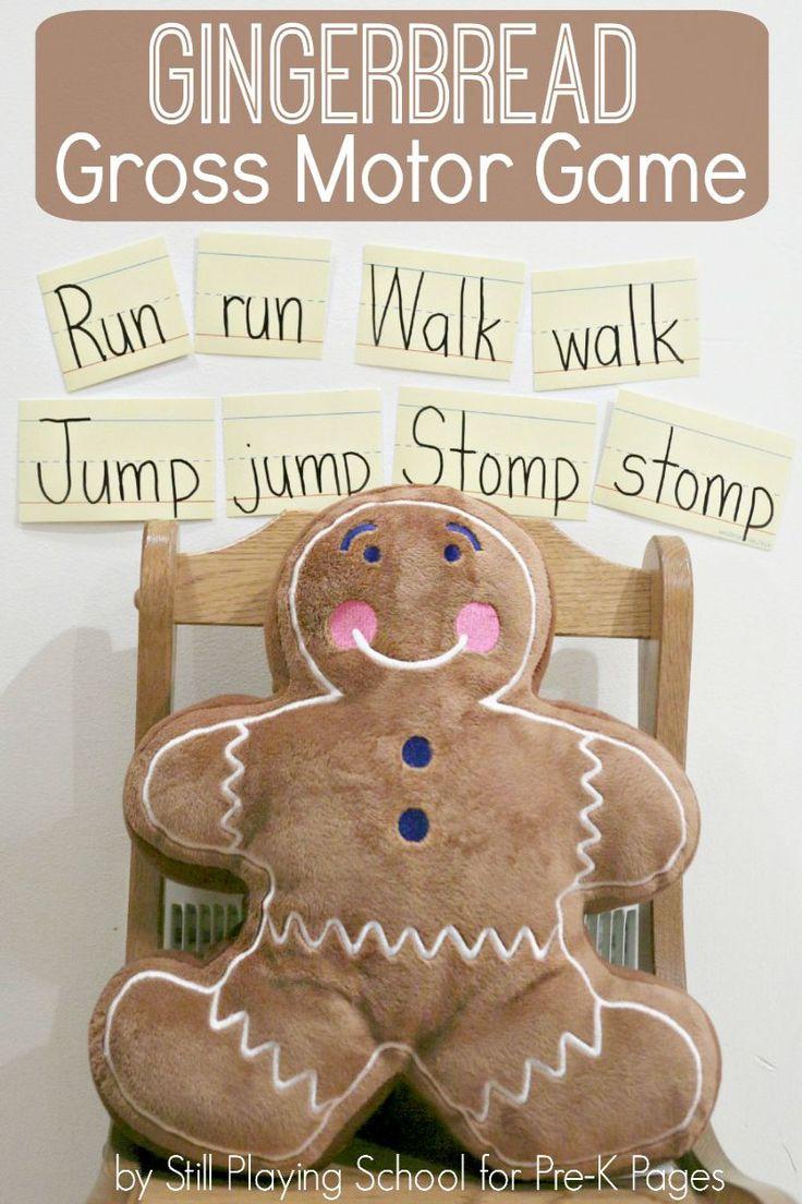 Fun gingerbread man gross motor game for preschool.