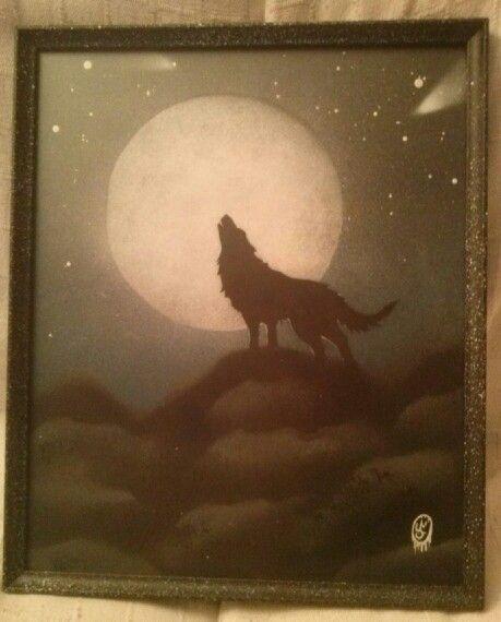 Lobo y luna,lamina din a3,realizada a spray