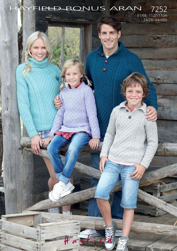 Family Sweaters in Hayfield Bonus Aran (7252) – Deramores