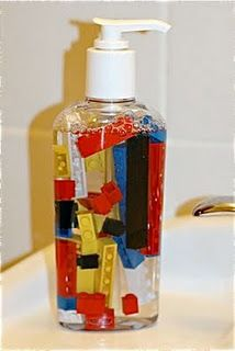 Ultimate Lego Party - Lego Soap.  This is like my Halloween Spider Soap idea: http://joyslife.com/simple-spooky-spider-soap-with-vinyl/Soaps Dispeners, Boys Bathroom, Kids Bathroom, Lego Soaps, For Kids, Soaps Provide, Lego Parties, Lego Birthday, Little Boys