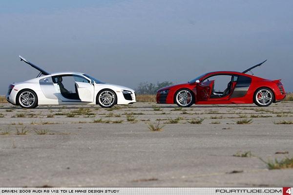 Audi R8 4.2 FSI (left) and Audi R8 V12 TDI (right). Photo by Fourtitude.com