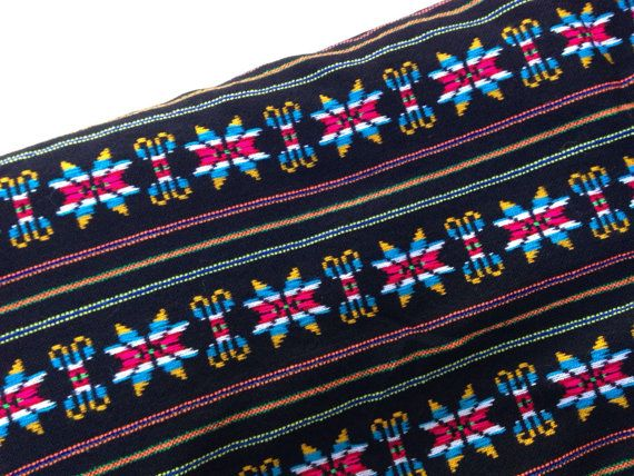 Black Aztec Fabric  One Yard Tribal pattern  by NellywithWings