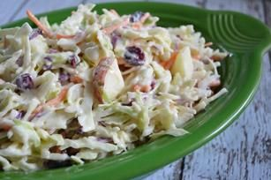 Creamy Apple Cranberry Coleslaw recipe - Crisp apples and tart-sweet dried cranberries give this creamy coleslaw great texture. Expect requests for this classic summer side dish all year round. @Emilie