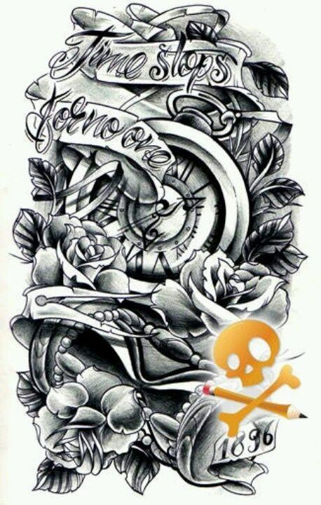 Resultado de imagen de black and gray half sleeve tattoos clocks