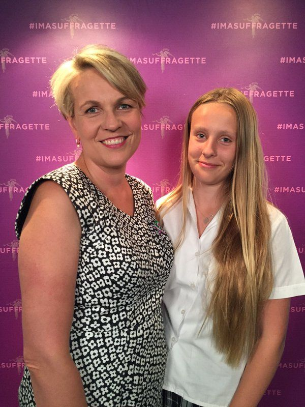 Tanya Plibersek and daughter at a Sydney preview screening of #Suffragette #Imasuffragette mum&daughter