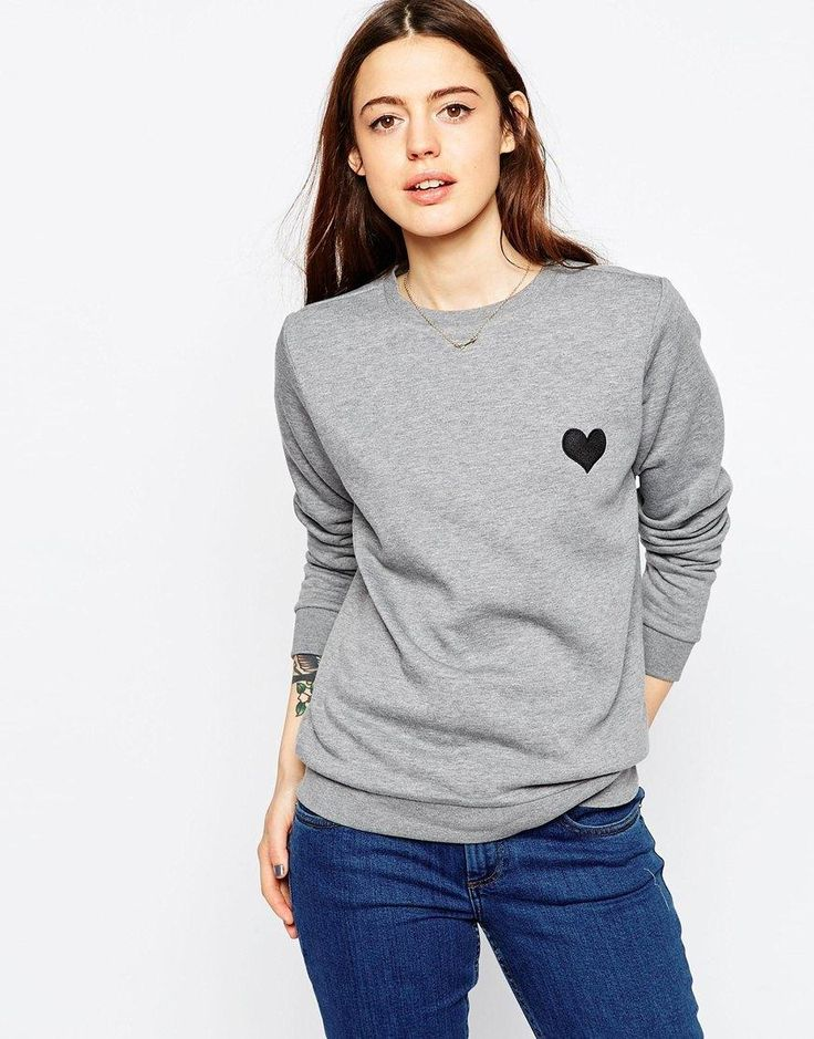 ASOS | ASOS Sweat With Embroidered Heart at ASOS