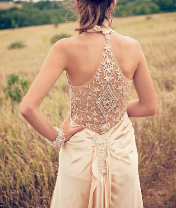 I love the revealing back, wedding dress, exquisite design, beautiful soft peach mango color