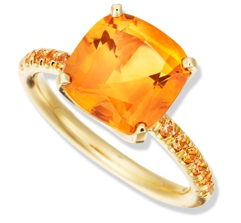 Color Candy Citrine Ring with Orange Sapphire in Yellow Gold by Jane Taylor
