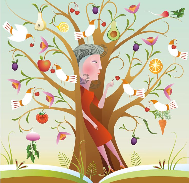 #TreeofLife #food #sustenance #healthyliving #vectorillustration #christianebeauregard #lindgrensmith #illustration