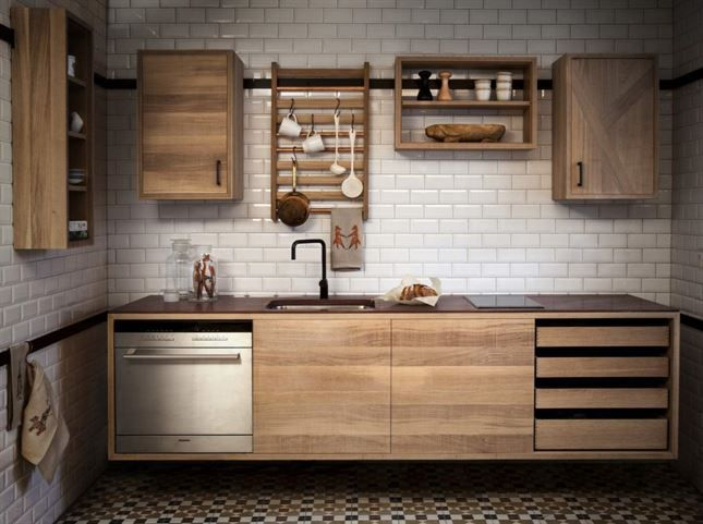Trä. Railway kitchen från Bucks and spurs Stockholm är ett svenskt, handgjort kök som kombineras ihop av moduler. Modulerna hängs på en list, och är lätta att flytta. Här blandas råsågad ek och släthyvlad ek. På bilden är skivan av älvdalskvartsit. Pris efter förfrågan.