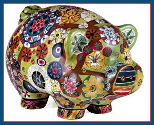 IMAX Folkart Piggy Banks This colorful ceramic piggy measures from tip of tail to tip of nose 27.5 cm, width 18.5 cm and height 16.5 cm. The feet are sealed with felt, that has been hot glued on. http://theceramicchefknives.com/ceramic-piggy-banks/  ATM Piggy Bank, Ceramic Piggy Banks, Disney Minnie Ceramic Piggy Bank, Disney Minnie Mouse,