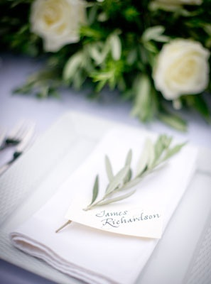 herbs for place cards at a seated reception