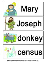 Christmas Word Wall Cards- This is a printable set of Word Wall   cards for children learning about the   story of Christmas.  You can use these   cards to retell the Christmas story from   Mary's Good news, to the journey to   Bethlehem, to the visit of the Shepherds and the Maji.