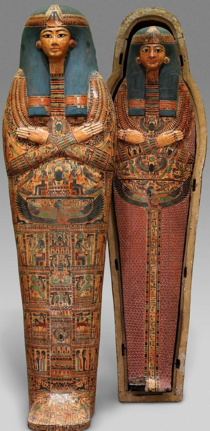 "Inner Coffin of the Singer of Amun-Re,Henettawy.Third Intermediate Period,Late 21st Dynasty c.a. 1000–945 B.C. Upper Egypt,Thebes,Deir el-Bahri,Tomb of Henettawy.""The ""mistress of the house and singer of Amun-Re,"" Henettawy died, still in her twenties, during a time of political change (the so-called Third Intermediate Period). This was a period when the art of coffin decoration was at its height. Such decoration was especially important at the time because no images enriched"