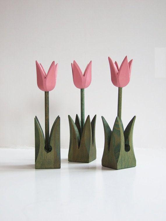Tulipanes suecos de madera// Flores de madera por tiendanordica, $19.00