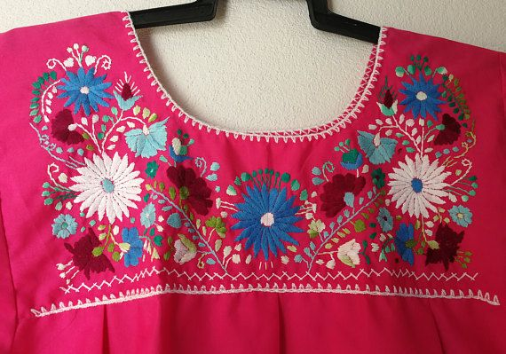 Embroidery mexican Blouse Large Pink mexican blouse mexican