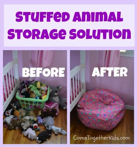 Bean bag cover (Bed Bath Beyond) with stuffed animals.
