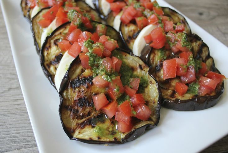 Grilled Eggplant with Fresh Mozzarella, Tomatoes and Basil Vinaigrette