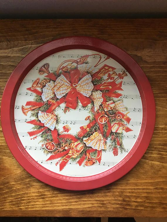 Christmas Tin Plate Vintage Musical Instruments Music Notes