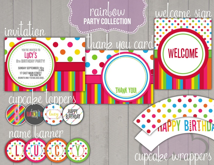 Rainbow Birthday Party Package (Printable Digital File). $25.00, via Etsy.