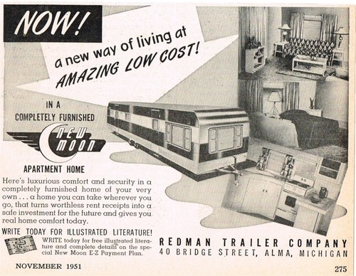 1951 Redman New Moon Trailer Mobile Home Alma Michigan Vtg Print Ad