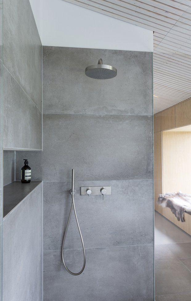 Sensationelle Bruseniche med fliser med betonlook. | Home i 2019 | Bathroom KN52