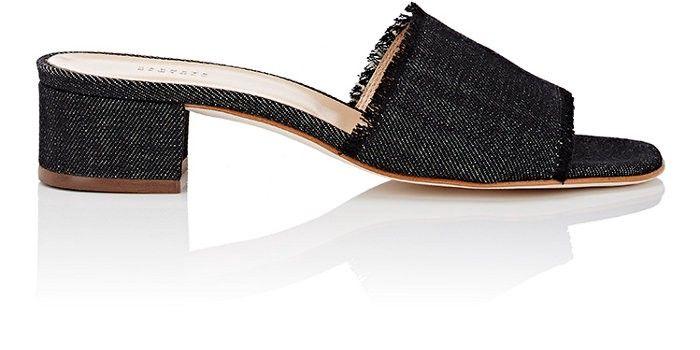 bc576b0d2135 BARNEYS NEW YORK Fringed Denim Slide Sandals.  barneysnewyork  shoes ...