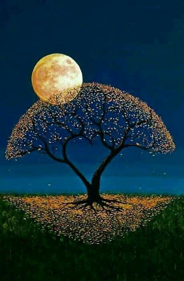 Such a unique pretty tree and moon painting. I love it!