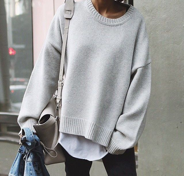 Soft, white shirt under soft cream/grey oversized sweater - soft leather unstructured bag makes for a relaxed, cozy look.