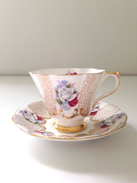 Vintage Queen Anne English Scalloped Shape Tea by MariasFarmhouse, $65.00