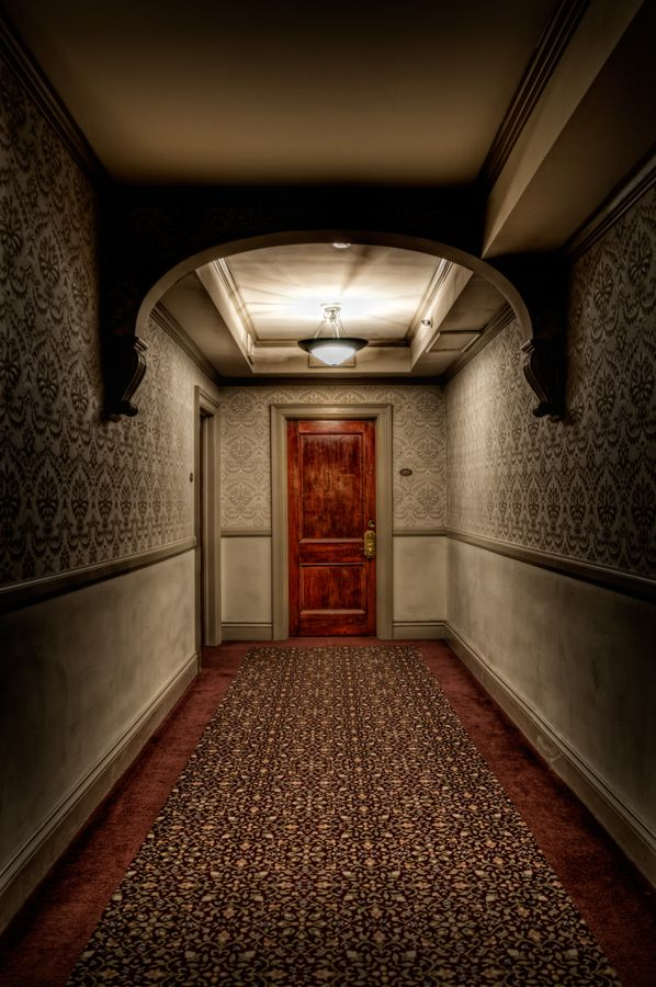 Want to walk this Hallway.  Outside of Room 217, The Stanley Hotel, photo by Justin Balog. This is a picture of an empty hallway, but something about it gives me the creeps. It may be the movie or the fact that Stephen King stayed in this room and heard the ghost kids. It looks really eeire. Like it really isn't empty.