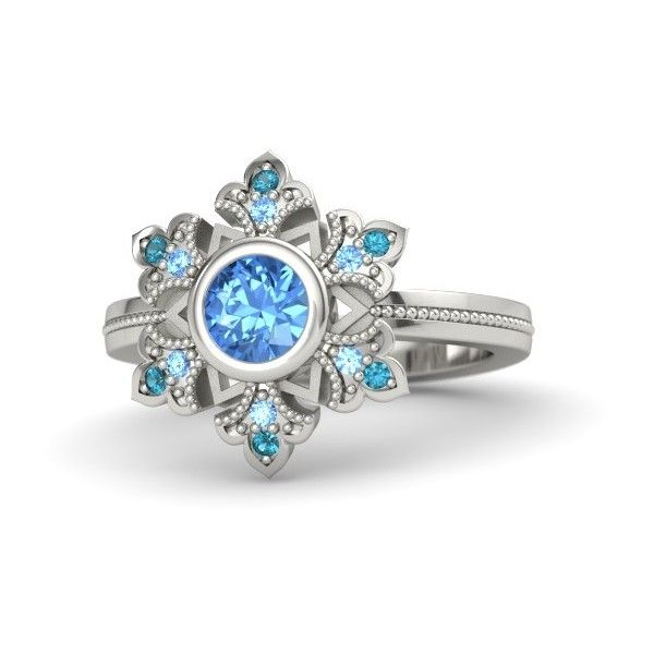 Gemvara Snowflake Ring ($750) ❤ liked on Polyvore featuring jewelry, rings, vintage style jewelry, handcrafted jewellery, snowflake ring, snowflake jewelry and round cut rings