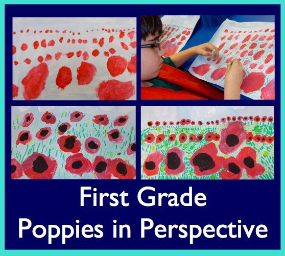 First grade students talked about the Wizard of Oz. This was one of the first movies to use color. They were surprised that some movies were only in black and white.  We discussed perspective while watching the poppy scene. They noticed that the poppies at the bottom were bigger than the flowers on top. PERSPECTIVE!  They made poppies using tempera paint and oil pastels. Notice how flowers at the bottom look closer!