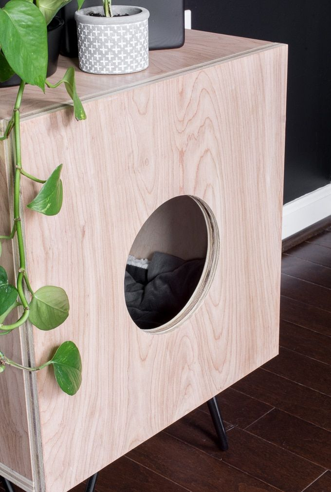 How To Build A Stunning Cat House Side Table For Your Kitties Cat Furniture Diy Cat House Diy Cat House Plans