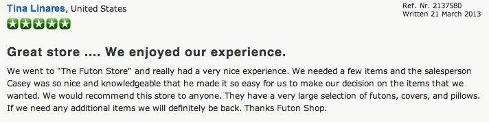 Review - The Futon Shop Sacramento - 2011 Arden Way Sacramento, CA 95825 (916) 927-2290