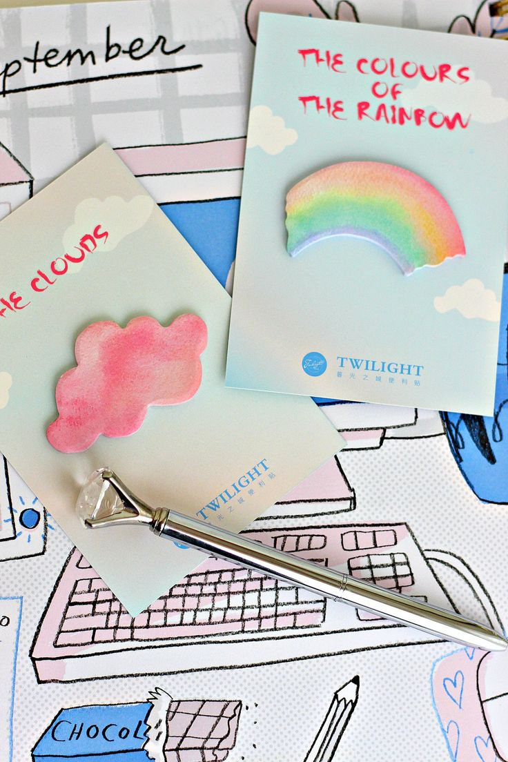 Rainbow and Pink Cloud Sticky Notes by ChampagneAndConfetti on Etsy