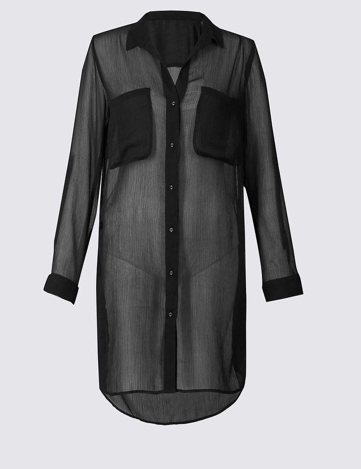 M&S Long Sleeve Chiffon Shirt Dress 12/14/18 RRP £25 | Clothes, Shoes & Accessories, Women's Clothing, Dresses | eBay!