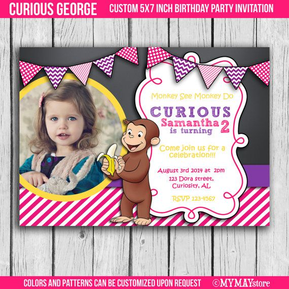 Curious George Themed Girl Birthday Photo Invitationprintable And Customized