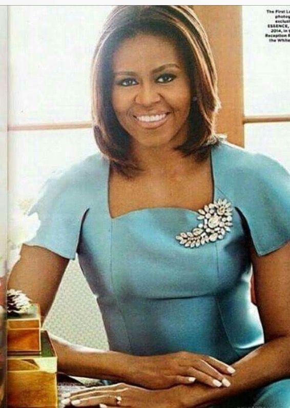 Michelle Obama, FLOTUS, Essence Magazine, May 27, 2014, in the East Reception Room White House, in a gorgeous blue dress: I love this detailing and broach. Kudos, to the fashion stylist.