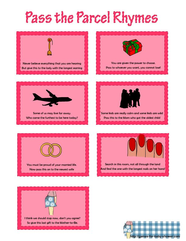 more rhymes for pass the parcel game in pink color