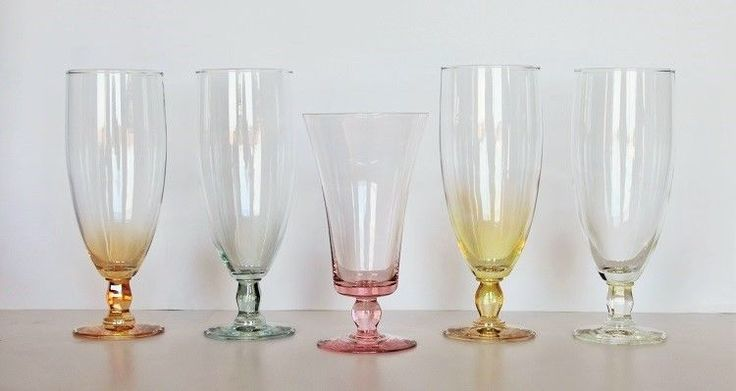 Eclectic Set Of FIVE Champagne Glasses Pink, Marigold, Blue, Clear &   #CHAMPAGNEGLASSES