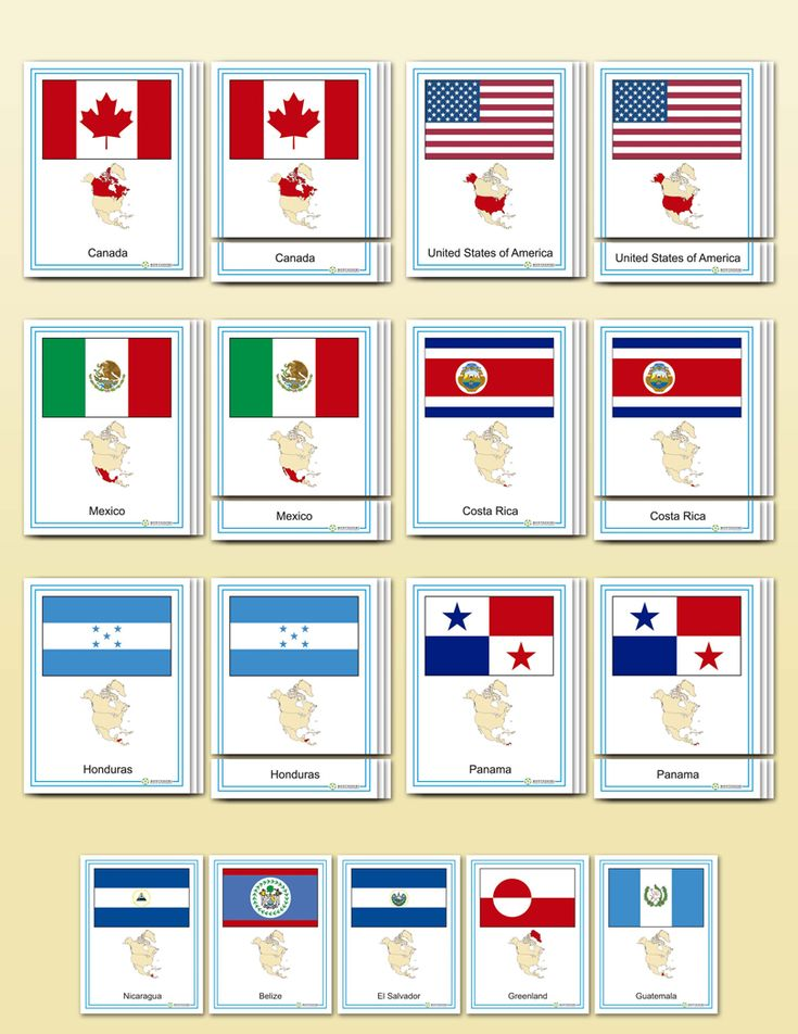 Flags of North America | Montessori Research and Development - Montessori materials, teacher manuals and books