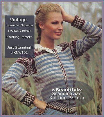 Vintage-Norwegian-Sweater-SNOWSTAR-Knitting-Pattern-KNW101-Pattern-NOT-ITEM