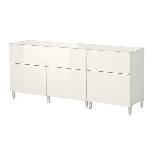 BESTÅ Storage combination w doors/drawers - white/Tofta high-gloss/white - IKEA