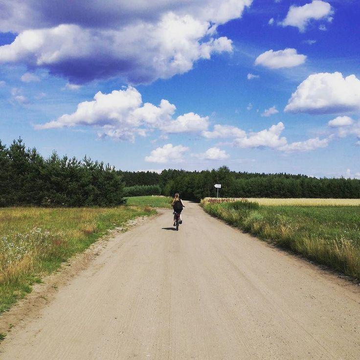 #summer #holidays #bike #village #road #forest #blonde #clouds #sun #sky