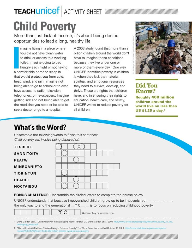 """This Activity Sheet, appropriate for grades 6-8, outlines the issue of child poverty, provides exercises for considering poverty at home and worldwide, and introduces students to an awareness-raising poverty experience called """"Live Below the Line."""""""